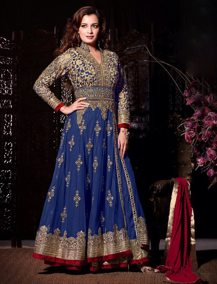 Dia Mirza Blue Net Designer Anarkali Suit