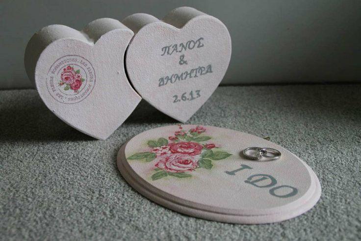 """Wedding ring box & sign """"I DO"""" #vintage #wedding #decoupage"""