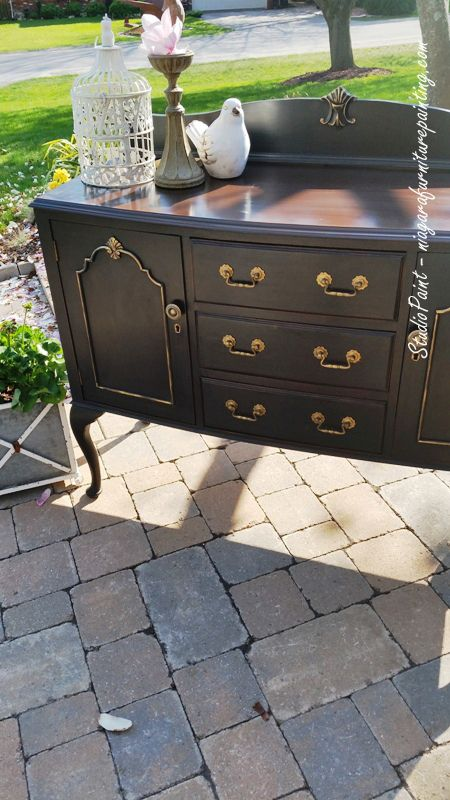 Refinished Black Buffet General Finishes lamp black antique walnut gel stain