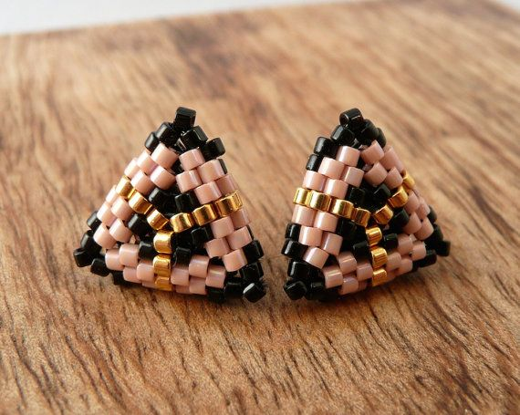 Triangle Studs Beaded Earrings in Peach Black by Charmandculture, $39.00