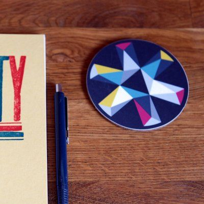 Drinks Coasters Geometric Print Black Design