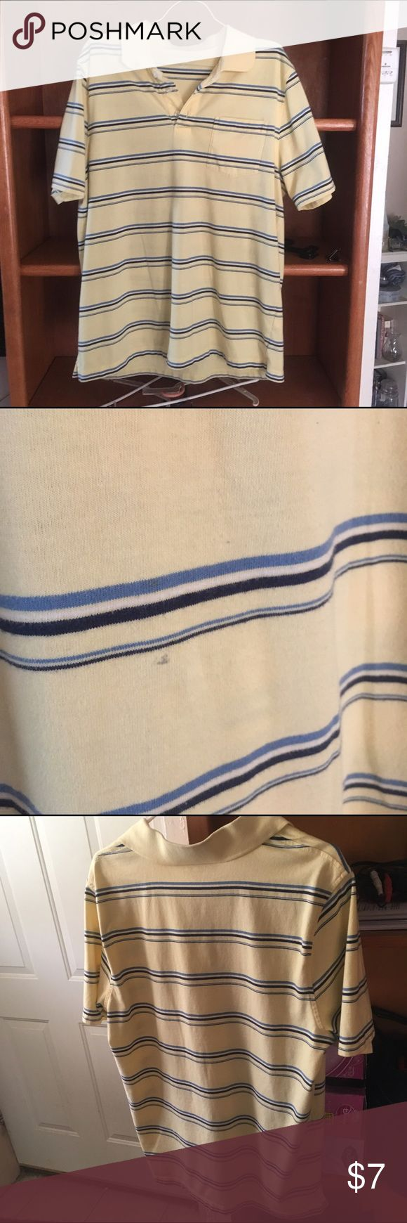 Yellow size large polo shirt with pocket Made by Croft and Barrow is size large.  It is yellow with varying blue stripes.  It is used but hubby wears a Medium so it was not worn much.  There is a slight discoloration by one of the stripes.  It's been there since hubby received as gift. croft & barrow Shirts Polos