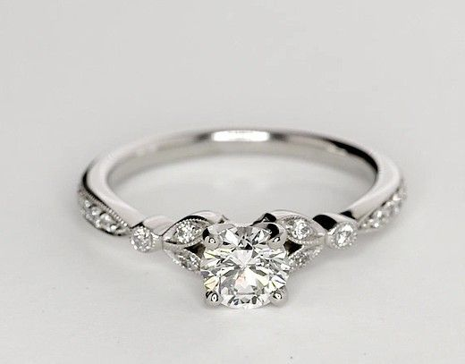 0.75 Carat Diamond Petite Vintage Pavé Leaf Diamond Engagement Ring | Recently Purchased | Blue Nile
