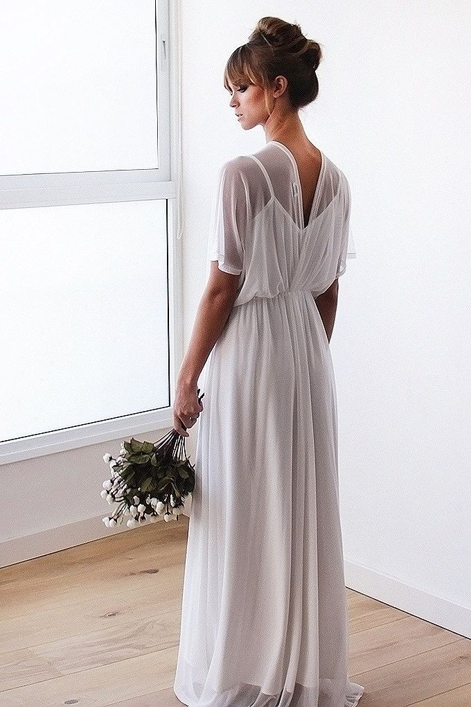 Chiffon sheer ivory gown, Bridal ivory dress with bat wings sleeves, Chiffon empire wedding dress