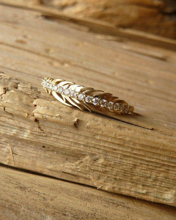 Slim Feather Ring with Diamonds by kateszabone on Etsy, $995.00