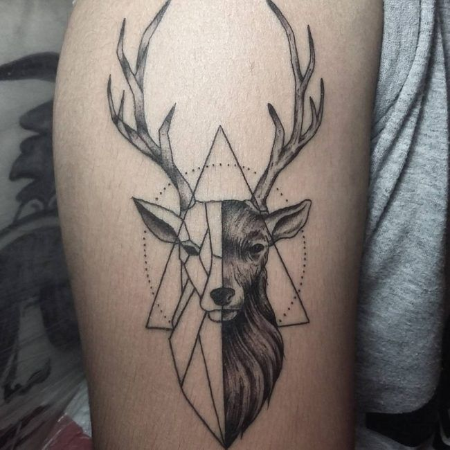Deer Tattoo, Tattoos, Geometric Tattoo