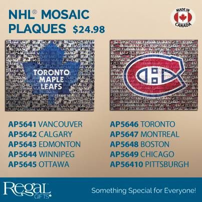 """NHL® MOSAIC PLAQUES  A must for every hockey fan. Laminated MDF plaque features NHL logo over a photo mosaic of team players. Hanging lip on back. 16"""" x 20"""""""