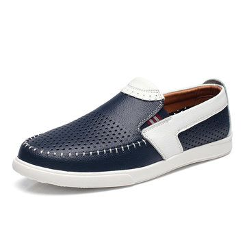 Men Stitching Color Blocking Hole Breathable Trainers Slip On Leather Loafers - NewChic Mobile.