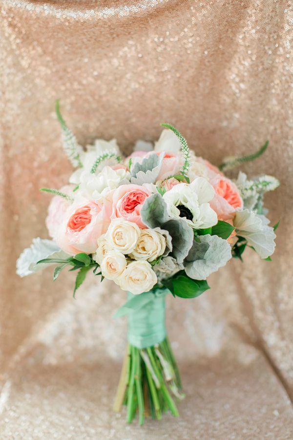 Pale Coral and Mint Bridal Bouquet