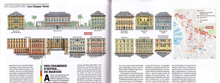 Rolli de Gênes / Palaces in Genova, Italy, illustration and map designed by Hugues Piolet for GEO Magazine.