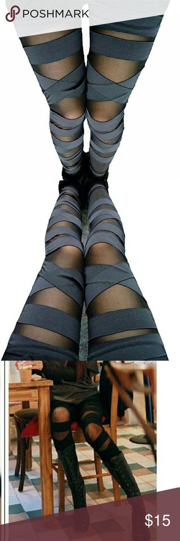 NWT Partial See Through Wrapped Leggings. NWT Partially See Through Leggings with Criss Cross Wrapped detail. Black mesh. Elastic. Pants Leggings