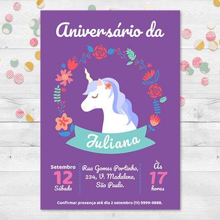 Convite de aniversário unicórnio. #aniversário #Convitedeaniversário #unicornio