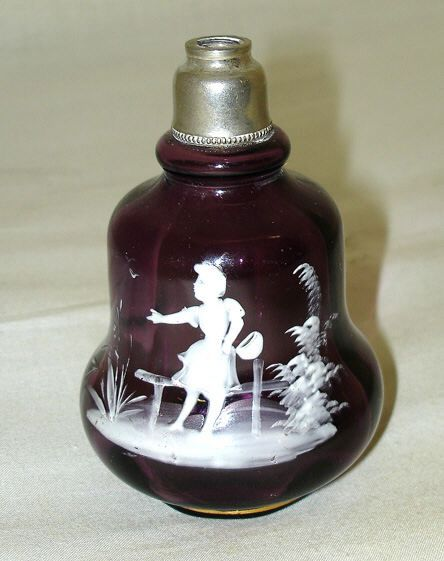 Victorian Amethyst Glass Mary Gregory Perfume