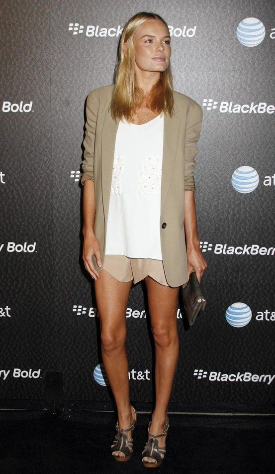 Neutrals - tan jacket and scalloped shorts, white blouse #Kate Bosworth