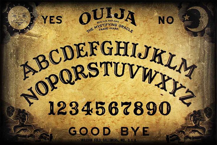 Printable large size Ouija board (looks like the Parker Bros. version) for crafting. I plan on making placemats, and using this as my computer wallpaper.