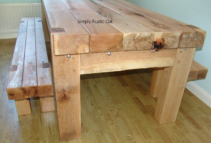 Rustic Oak Beam Dining Table With Stainless Steel Bolts