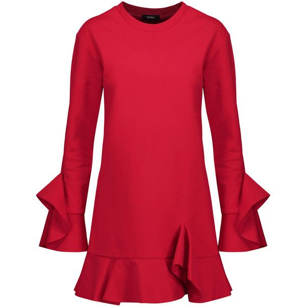 Goen J Ruffled cotton-jersey mini dress (1154290 PYG) ❤ liked on Polyvore featuring dresses, red, short ruffle dress, red ruffle dress, frilly dresses, red frilly dress and short frilly dresses