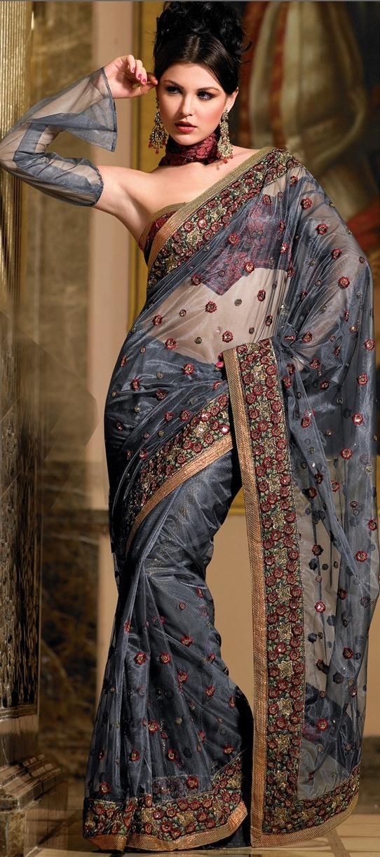 Dark Blue Net Saree w/Blouse Indian ladies fashion styles. Sari gorgeous