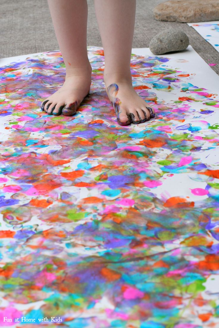 Let your feet do the painting for a super fun and silly painting technique from Fun at Home with Kids