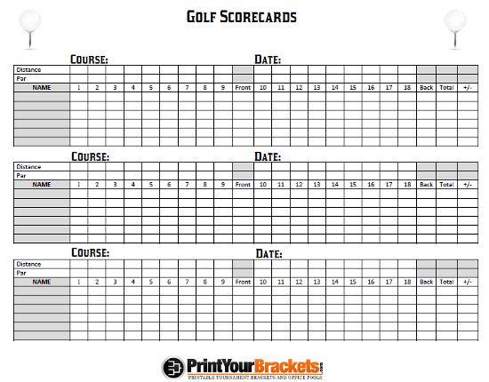 golf scorecards templates