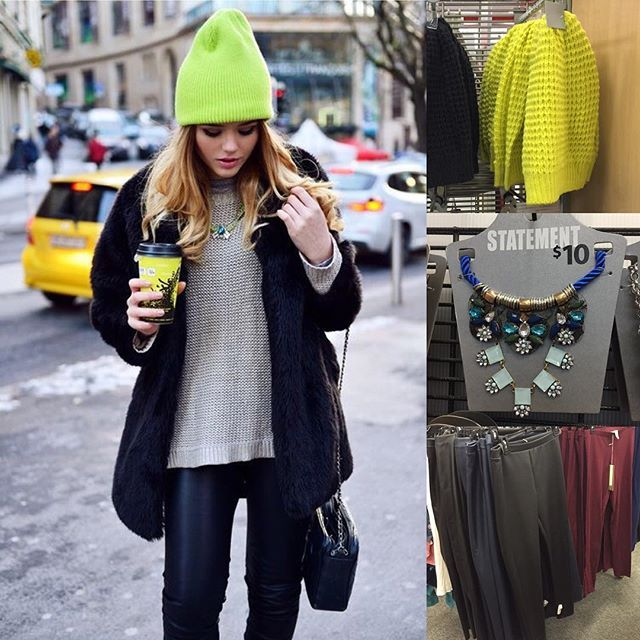 budgetbabe | Spotted a neon beanie at Target and instantly thought of the look at left that I had pinned recently...bold statement for winter! Add a statement necklace and leather-look leggings to a neutral starter and black coat for this edgy yet easy to wear look ....@target hat, #Walmart necklace and @lclaurenconrad for @kohls leggings (all in store now!) #falloutfit #fallfashion #wearwalmart #targetdoesitagain #TargetStyle #neon #pinterest #pinspiration
