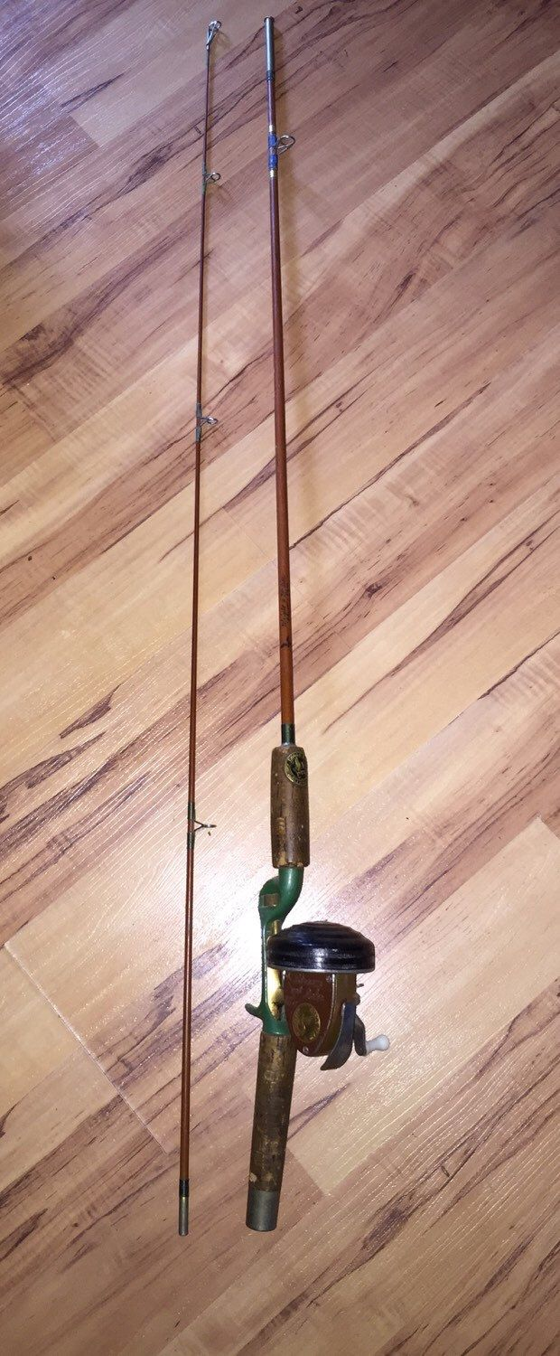 RARE Eagle Claw Bamboo Fishing Rod and Reel Wright & McGill ' Denco ' 6.5 ft by KootenaiTradingPost on Etsy https://www.etsy.com/listing/254010480/rare-eagle-claw-bamboo-fishing-rod-and