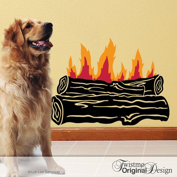 Campfire Wall Decal: Outdoor Log Fire for Camping Decor or Rustic Cabin Fireplace