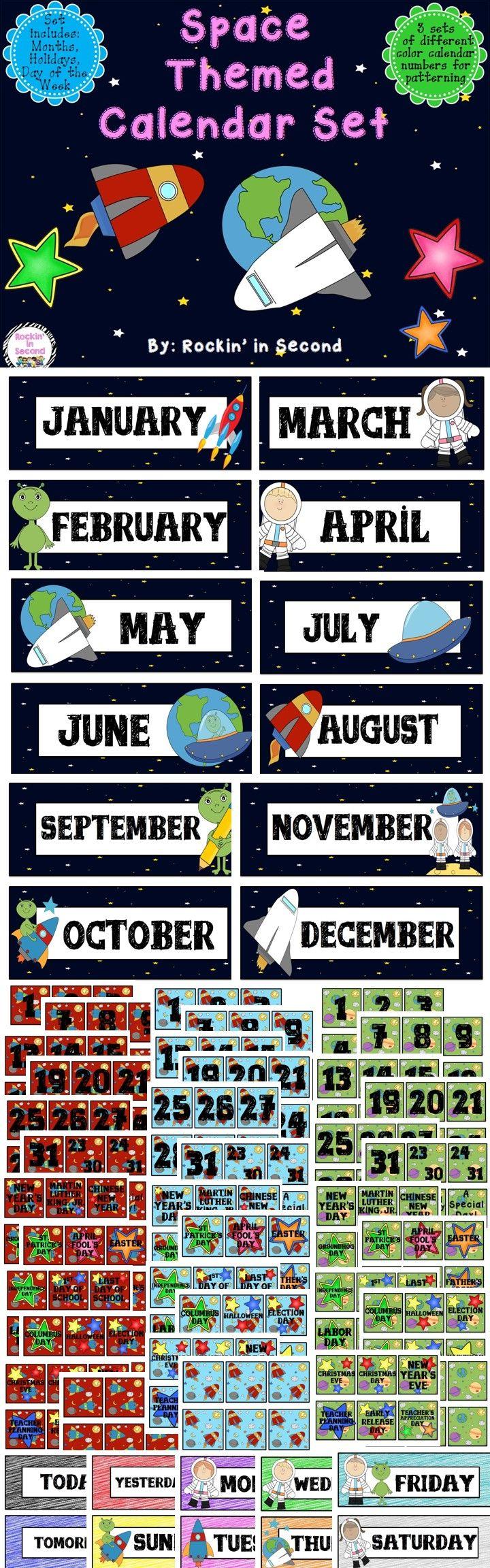 Calendar Organization Number : Space calendar set numbers teacher and school