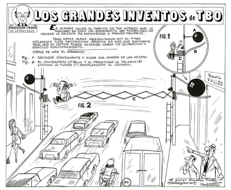 """Ramón Sabatés i Massanell (1915 -  2003) historietista del TBO conocido por la sección """"Los grandes inventos del TBO"""". Profesor Franz de Copenhague. -  Máquina Voy Volando"""