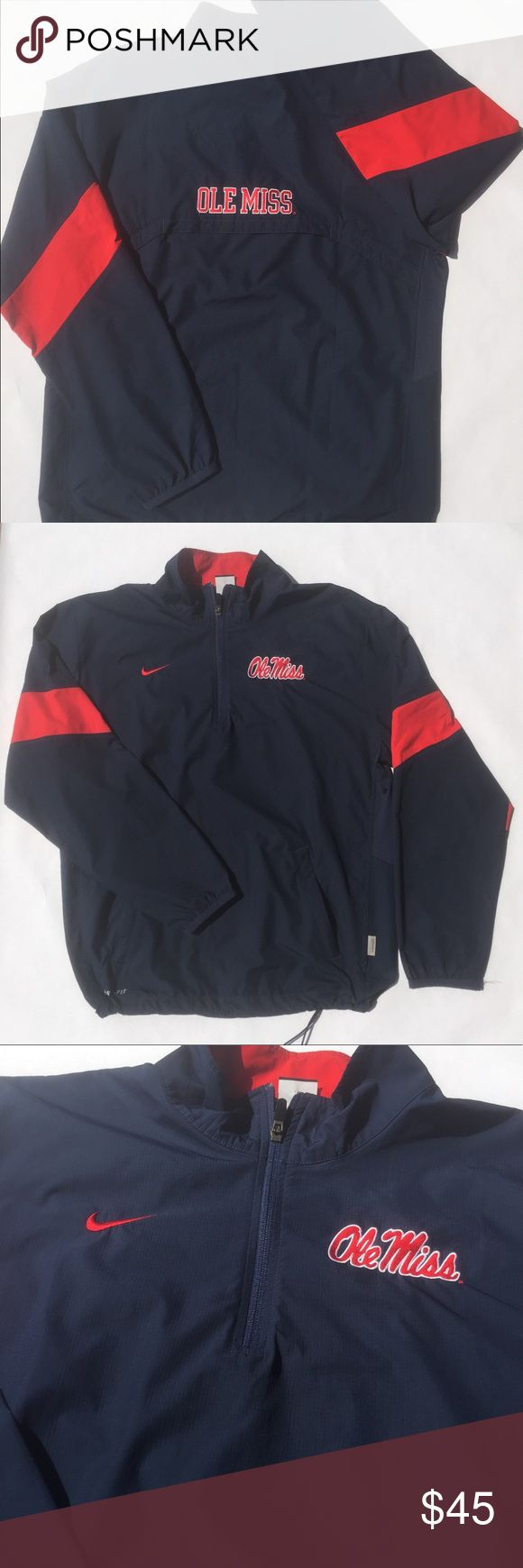 Ole Miss University Nike Storm Fit Pullover Sz S Preowned Ole Miss Nike Storm Fit Windproof Pullover Jacket Sz: Small Color: Blue and Red  Condition: Excellent Measurements:  - Length: 28 1/4 in  - Chest: 23.5 in  - Shoulders: 20.5 in  - Sleeves: 26 in Nike Jackets & Coats Windbreakers