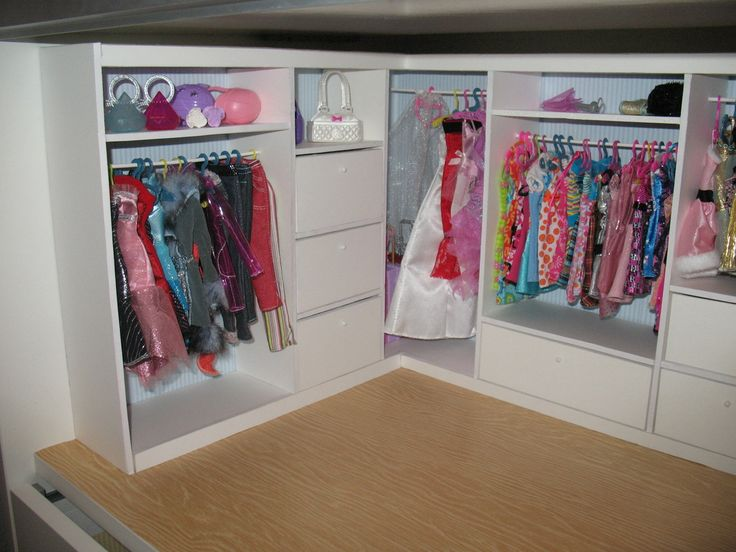 Barbie closet tutorial  I'm thinking a one or two drawer shelf. Uses - contact paper the walls and floor, 5mm Foam board small rods, glue pin needles AND LOTS OF MEASURING!