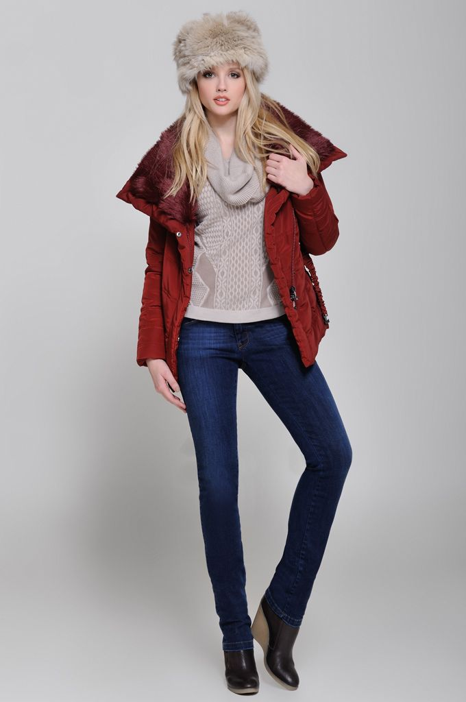 Puffy zip jacket with fake fur, Jacquard cowl-neck sweater, Five pocket straight leg jean