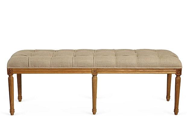 Tufted Rectangular Bench, Greige on OneKingsLane.com
