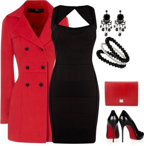 Do you have a little black dress??  Add a red coat, clutch, black pumps, black bangle, silver bangle, dangle black earrings you got this.  Transform this look with a red scarf during the summer and no coat.  Great classic look.