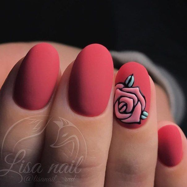 @pelikh_Matte red elagant simple romantic rose San Valentine nail art