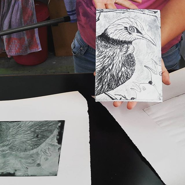 A native NZ bird design engraved onto perspex and then printed at the Vintage Craft School.