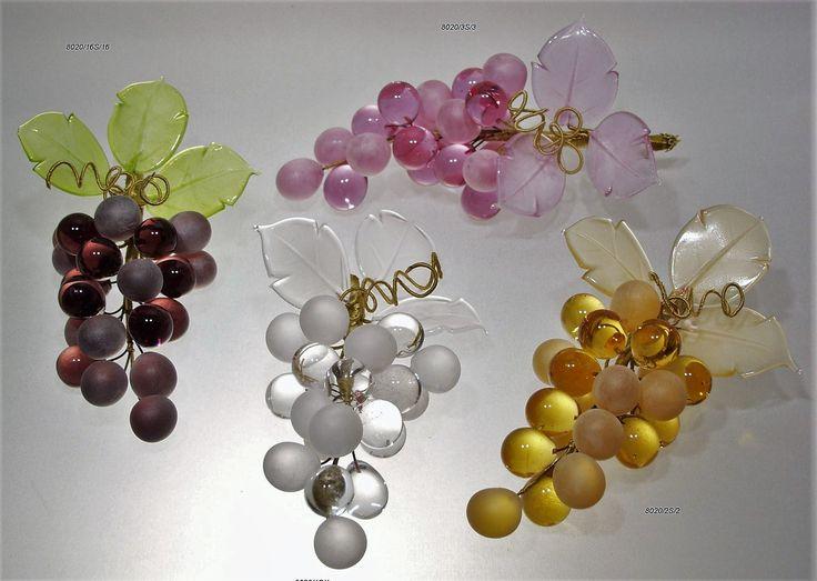 grappoli uva con 34 acini e 3 foglie  in vetro di murano
