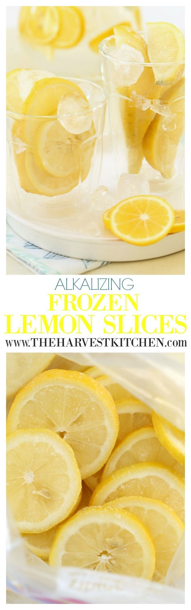 Add these Alkalizing Frozen Lemon Slices to water or herbal or green tea for added alkalizing, detoxifying and other nutritional benefits.