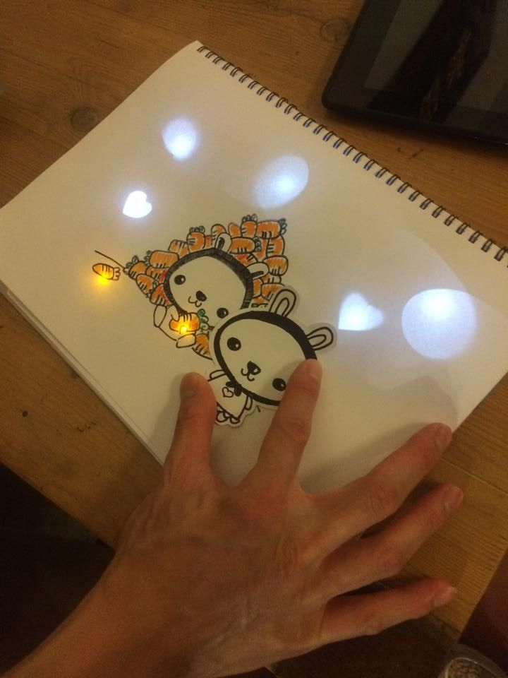 Circuit stickers chibitronics light up note book DIY LED ...
