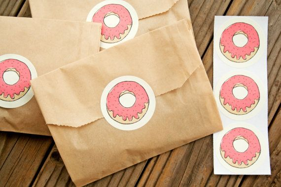 Fun Donut Stickers  Wedding Favors Party Favor Birthday by mavora