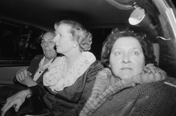 Margaret Thatcher and her husband Denis leave the Grand Hotel after the IRA attack. With them in the car is Margaret's friend and aide Cynthia Crawford