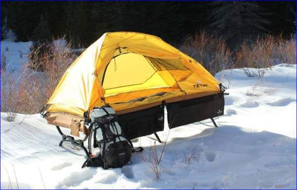 TETON Sports Outfitter XXL Quick tent cot in snow.