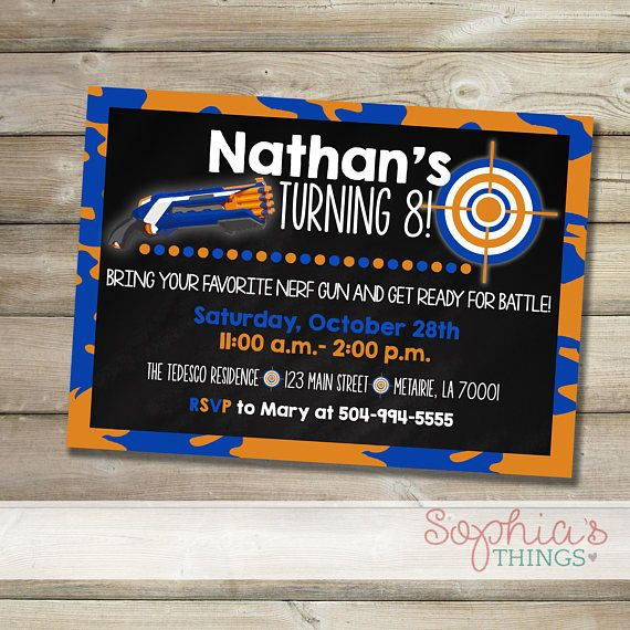 Nerf Birthday Party Invitation Blue And Orange Nerf Gun Party