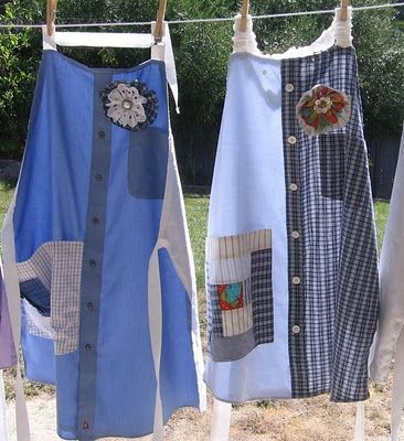 Repurpose men's old shirts into aprons- lots of ideas and link to instructions.