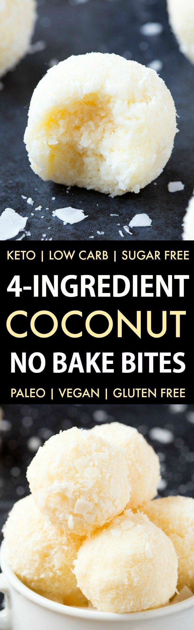 Easy and healthy no bake coconut bites made without condensed milk and needing just 4 ingredients. Made with coconut and almond flour, these paleo and vegan snacks take less than 5 minutes to whip up! Keto, Sugar free, Low Carb.