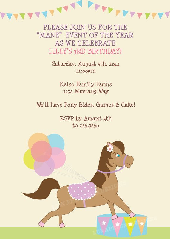 17 best images about party time on pinterest birthday party pony rides birthday party invitation any by lunapetuniadesigns stopboris Image collections