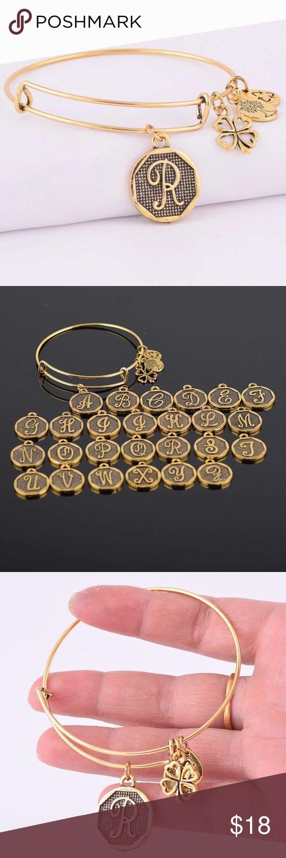 Gold Letter 'r'charm Bracelet Brand New! Alex And Ani Inspired Gold
