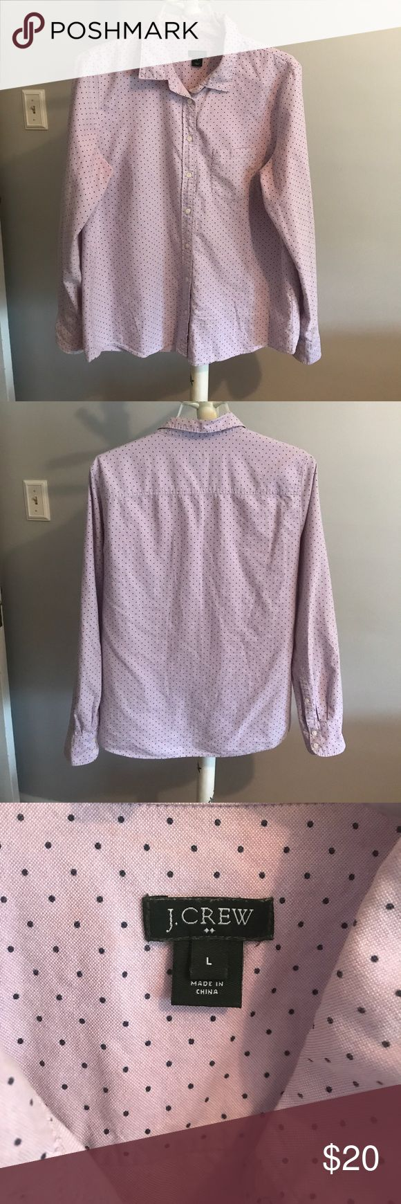 J Crew oxford shirt J.Crew Factory Polka Dot Patterned Oxford Button Down Shirt Lilac Purple with Navy Blue Polka Dots Long sleeve Collared Single chest pocket Pre-owned in great condition with no flaws Women's Size L. J. Crew Tops Button Down Shirts
