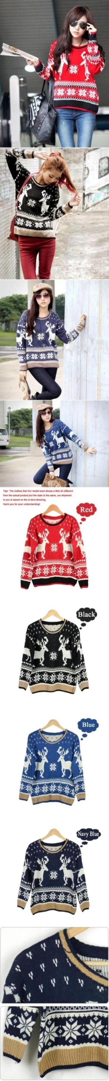 awesome free shipping Pullover Christmas Women Geometry Deer Long Sleeve Knitted Winter Sweater sf57 FF11421