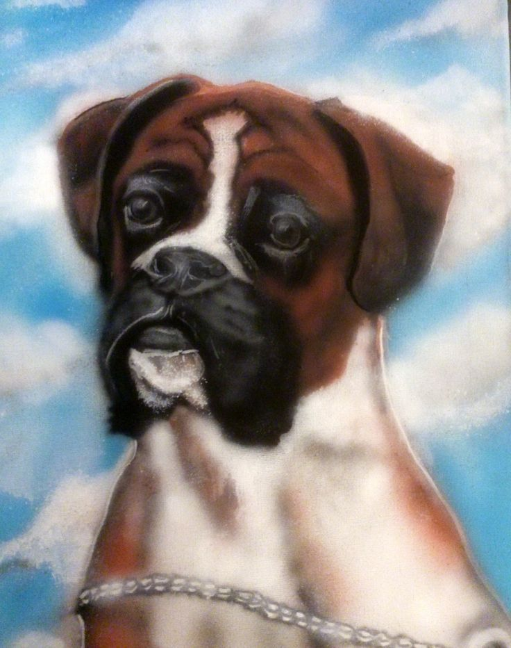 boxer..painted with acrylics and airbrush on canvas